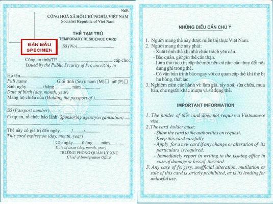 Temporary residence card