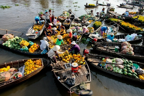 floating boat, Mekong Delta
